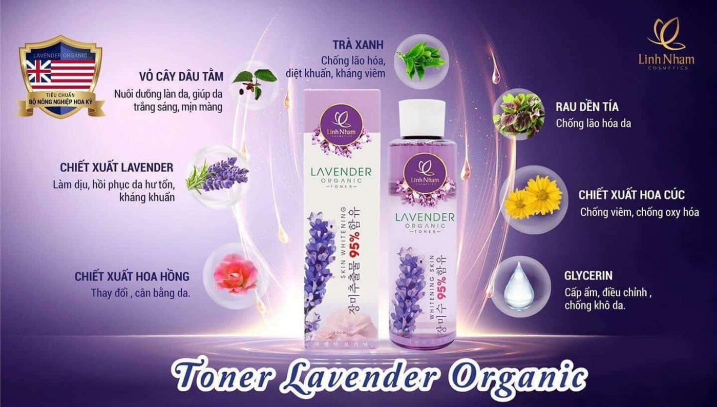 Nước hoa hồng chiết xuất Lavender Organic Linh Nhâm giúp làn da đẹp bất ngờ.