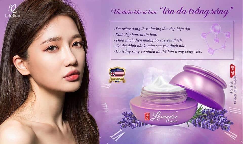 Kem trắng da Linh Nhâm với tinh chất Lavender Organic cùng nhiều thành phần thiên nhiên, giúp bật tông làn da hiệu quả.