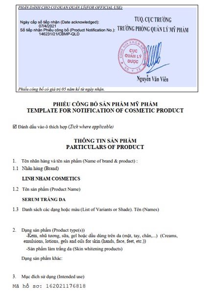 Phiếu công bố sản phẩm mỹ phẩm SERUM TRẮNG DA